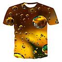 cheap Men's Boots-Men's Street chic / Punk & Gothic Plus Size T-shirt - 3D Print Round Neck Gold XXXXL