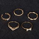 זול טבעות-בגדי ריקוד נשים טבעת טבעת הגדר זירקונה מעוקבת 5pcs זהב כסף סגסוגת מעגלי פשוט טרנדי חתונה תכשיטים חמוד