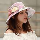 זול נעלי אוקספורד לנשים-אביב קיץ סגול יין כחול בהיר כובע דלי פרחוני קולור בלוק רשת מסיבה סגנון חמוד בגדי ריקוד נשים