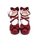 baratos Sapatos Lolita-Sweet Lolita Princesa Salto Grosso Sapatos Sólido 4.5 cm CM Preto / Vermelho Para Mulheres PU Leather Trajes da Noite das Bruxas