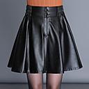povoljno Kožne hlače i suknje-Žene Veći konfekcijski brojevi Ljuljačka Suknje - Jednobojni S izrezom Crn M L XL / Širok kroj