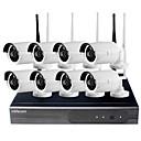 Недорогие IP-камеры для помещений-8-канальный 720p беспроводной комплект NVR Wi-Fi IP-камера системы видеонаблюдения Pal NTSC мобильный телефон удаленного подключи и играй с 8шт 1-мегапиксельная P2P