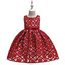 זול בגדי ריקוד לילדים-שמלה עד הברך ללא שרוולים תחרה / פפיון / רקום אחיד פעיל / סגנון חמוד בנות ילדים