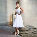 זול שמלות שושבינה-גזרת A צווארון V באורך הקרסול שיפון מסיבת קוקטייל שמלה עם סרט על ידי LAN TING Express