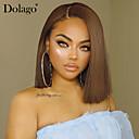 povoljno Perike s ljudskom kosom-Ljudska kosa 4x13 Zatvaranje Perika Bob frizura Duboko udaljavanje stil Brazilska kosa Prirodno ravno Smeđa Perika 150% Gustoća kose s dječjom kosom Prirodna linija za kosu Afro-američka perika Za
