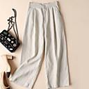זול בגדי ריצה-בגדי ריקוד נשים בסיסי רגל רחבה מכנסיים - אחיד פשתן שחור לבן חאקי S M L