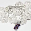 ราคาถูก สายไฟ LED-2m ไฟสาย 10 ไฟ LED ขาวนวล ตกแต่ง ใช้แบตเตอรี่ AA 1set