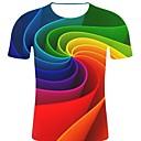 זול בגדי ריצה-פסים / 3D / גראפי צווארון עגול רוק / מוּגזָם מידות גדולות כותנה, טישרט - בגדי ריקוד גברים דפוס קשת
