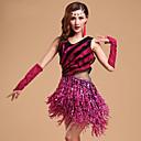 رخيصةأون ملابس رقص لاتيني-الرقص اللاتيني أزياء نسائي التدريب / أداء مودال بريق / كشاكش / شرابة بدون كم فستان / قفازات