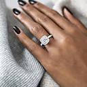 povoljno Prstenje-Žene Prsten Izjave Zaručnički prsten Belle Ring Dijamant Kubični Zirconia 1pc Zlato Srebro Rose Gold Glina Pozlaćeni dame Europska Vjenčan Vjenčanje Party Jewelry Pasijans Lenonice HALO Ljubav