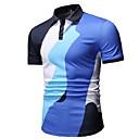 hesapli Erkek Gömlekleri-Erkek Gömlek Yaka Polo Zıt Renkli Havuz / Kısa Kollu