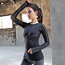 halpa Kuntoilu-, juoksu- ja joogavaatetus-Naisten Katkaistu Yoga Top Urheilu Yhtenäinen väri Silmukka Topit Jooga Juoksu Fitness Pitkähihainen Activewear Hengittävä Nopea kuivuminen Mikrojoustava Ohut