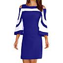 billige Kostymeparykk-Dame Gatemote Sofistikert Skiftet Skjede Kjole - Stripet Fargeblokk, dratt Ovenfor knéet