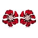 저렴한 패션 귀걸이-여성용 스터드 귀걸이 귀걸이 꽃장식 단순한 유럽의 단 패션 우아함 모조 다이아몬드 귀걸이 보석류 레드 제품 파티 선물 일상 데이트 1 쌍