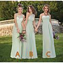 זול שמלות שושבינה-גזרת A כתפיה אחת / לב (סוויטהארט) עד הריצפה שיפון שמלה לשושבינה  עם תחרה / סלסולים על ידי JUDY&JULIA