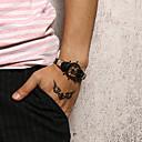 זול צמידי גברים-בגדי ריקוד גברים צמידי עור נול צמיד קלוע מארג הצהרה מסוגנן עיצוב מיוחד טרנדי אלגנטית פלדת טיטניום צמיד תכשיטים שחור / חום עבור Party מתנה יומי קרנבל מועדונים