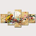 זול הדפסים-דפוס הדפסי בד מגולגל - מופשט ציפורים קלסי מודרני חמישה פנלים הדפסים אמנותיים