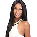 Недорогие Парики из натуральных волос на кружевной основе-Натуральные волосы Лента спереди Парик Свободная часть стиль Бразильские волосы Прямой Черный Парик 130% Плотность волос Женский Жен. Длинные Прочее Clytie
