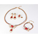 זול סטים של תכשיטים-בגדי ריקוד נשים אדום לבן זירקונה מעוקבת סטי תכשיטי כלה נברשת אהבה סגנון חמוד אלגנטית עגילים תכשיטים לבן / אדום עבור חתונה Party 1set