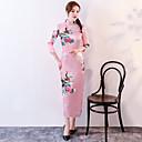 זול תלבושות אתניות ותרבותיות-מבוגרים בגדי ריקוד נשים סגנון סיני Cheongsam עבור מדים מועדון תערובת פולי / כותנה Midi Cheongsam