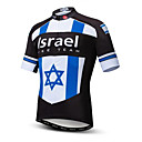 halpa Pyöräilysukat-21Grams Israel Lippukuvio Miesten Lyhythihainen Pyöräily jersey - Taivaan sininen+valkoinen Pyörä Topit UV-vastustuskykyinen Hengittävä Kosteuden siirtävä Urheilu Teryleeni Maastopyöräily
