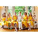 זול שמלות שושבינה-גזרת A כתפיה אחת / לב (סוויטהארט) באורך  הברך שיפון שמלה לשושבינה  עם סלסולים על ידי JUDY&JULIA