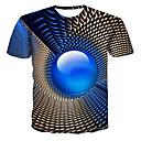 hesapli Erkek Gömlekleri-Erkek Yuvarlak Yaka Tişört Geometrik / 3D Büyük Bedenler Havuz / Kısa Kollu