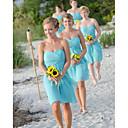 זול שמלות שושבינה-גזרת A לב (סוויטהארט) באורך  הברך שיפון שמלה לשושבינה  עם סלסולים על ידי JUDY&JULIA
