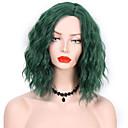 זול פיאות סינטטיות ללא כיסוי-פאות סינתטיות מתולתל סגנון חלק צד ללא מכסה פאה שחור / ירוק שיער סינטטי 14 אִינְטשׁ בגדי ריקוד נשים עיצוב אופנתי Party נשים ירוק פאה אורך בינוני