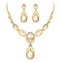 זול סט תכשיטים-בגדי ריקוד נשים פנינה סטי תכשיטי כלה נברשת סגנון חמוד אלגנטית דמוי פנינה עגילים תכשיטים זהב / כסף עבור חתונה Party 1set