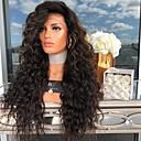 hesapli Sentetik Dantel Peruklar-Gerçek Saç Örme Peruklar Kinky Düz Stil Orta kısım Bonesiz Peruk Siyah Siyah Sentetik Saç 26 inç Kadın's Kadın Siyah Peruk Uzun Doğal Peruk