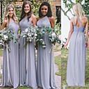 זול שמלות שושבינה-גזרת A כתפיה אחת עד הריצפה שיפון שמלה לשושבינה  עם סלסולים על ידי JUDY&JULIA
