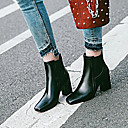 זול מגפי נשים-בגדי ריקוד נשים PU קיץ & אביב קלסי / בריטי מגפיים עקב עבה בוהן מרובעת מגפיים באורך אמצע - חצי שוק לבן / שחור / אדום