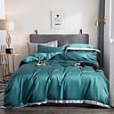halpa Luxury pussilakanat-Yhtenäinen Silkki / Puuvilla Käsintehty 4 osainenBedding Sets / 400
