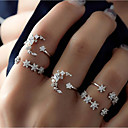 זול טבעות-בגדי ריקוד נשים טבעת הגדר זירקונה מעוקבת 5pcs כסף סגסוגת מעגלי ארופאי חתונה תכשיטים חמוד