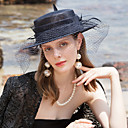 cheap Party Headpieces-100% Linen Fascinators / Hats with Feather 1pc Wedding / Party / Evening Headpiece