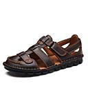 זול סנדלים לגברים-בגדי ריקוד גברים נעלי נוחות עור נאפה Leather קיץ / אביב קיץ יום יומי סנדלים נושם שחור / חום