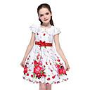 preiswerte Kleider für Mädchen-Kinder Mädchen Aktiv nette Art Blumen Schleife Kurzarm Knielang Baumwolle Kleid Weiß
