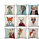 cheap Pillow Covers-1 pcs Linen Pillow Cover, 3D Animal Classic Fashion Throw Pillow