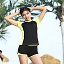 זול חליפות רטובות,חליפות צלילה וחולצות ראש-גארד-בגדי ריקוד נשים שני בגד ים אלסטיין בגדי ים הגנה מפני השמש UV ייבוש מהיר שרוולים קצרים 2חלקים - שחייה טלאים אביב קיץ / גמישות גבוהה