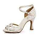 זול נעליים לטיניות-בגדי ריקוד נשים נעלי ריקוד סטן נעליים לטיניות עקבים עקב רחב ורוד ולבן / הצגה / אימון