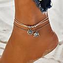 hesapli Ayak bileziği-Kadın's Ayak bileği bilezik Çoklu Katman Fil Güneş Bohem Tatil Gümüş Kaplama Ayak bileziği Mücevher Yeşil / Mavi / Pembe Uyumluluk Günlük Tatil