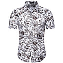 hesapli Erkek Gömlekleri-Erkek İnce - Gömlek Çiçekli Beyaz / Kısa Kollu