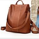 halpa Koululaukut-Suuri tilavuus PU Vetoketjuilla Backpack Yhtenäinen väri Päivittäin Ruskea