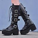 זול מקרנים-פאנק עקב טריז נעליים אחיד 8 cm CM שחור עבור בגדי ריקוד נשים עור פוליאוריתן תחפושות ליל כל הקדושים