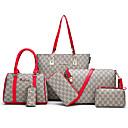 hesapli Çanta Setleri-Kadın's Fermuar PU Çanta Setleri Geometrik Desenli 6 Adet Çanta Seti Beyaz / Siyah / YAKUT / Sonbahar Kış