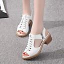 hesapli Kadın Sandaletleri-Kadın's Sandaletler Kalın Topuk Burnu Açık PU Klasik Yürüyüş İlkbahar yaz / Sonbahar Kış Siyah / Beyaz / Bej