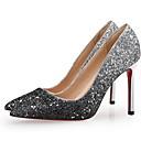 hesapli Kadın Sandaletleri-Kadın's Sandaletler Stiletto Topuk Sivri Uçlu Payet PU Yaz Siyah / Mor / Altın
