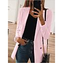 hesapli Takma Kirpikler-Kadın's Blazer, Solid Gömlek Yaka Polyester Siyah / Doğal Pembe / Sarı