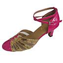 hesapli Balo Ayakkabıları ve Modern Dans Ayakkabıları-Kadın's PU Modern Dans Ayakkabıları Işıltılı Pullar Topuklular Küba Topuk Sarı / Fuşya